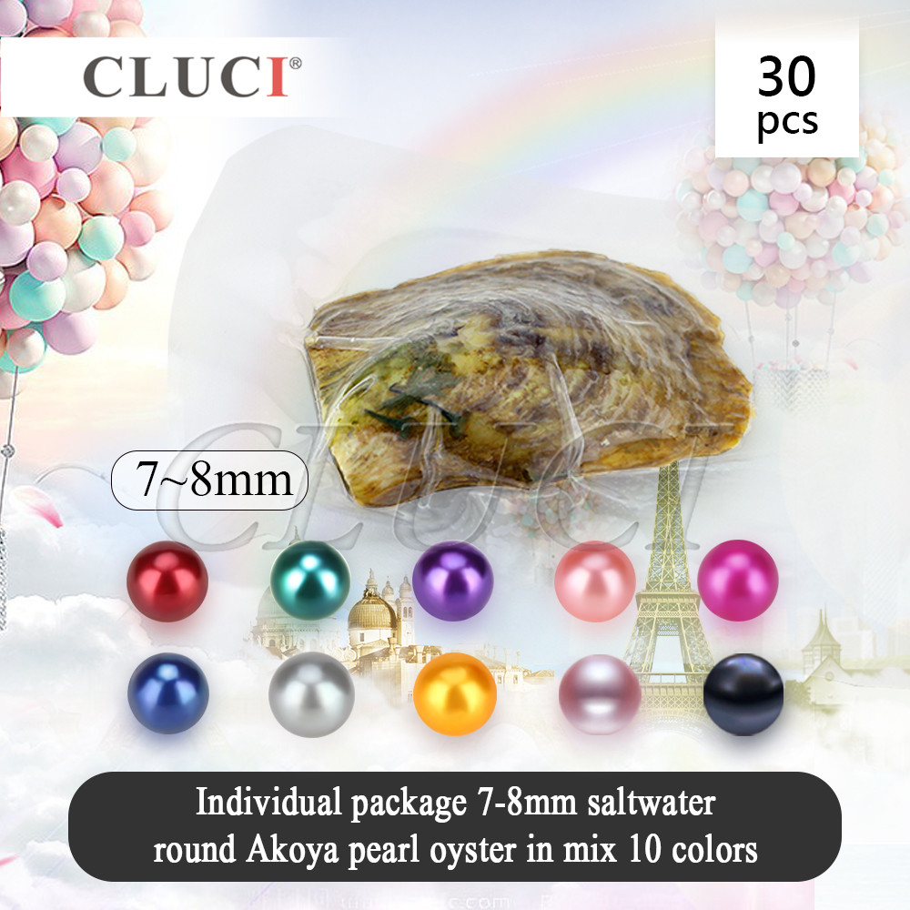 CLUCI free shipping, 30pcs 7-8mm Mixed 10 colors akoya oysters with pearls, Bright Colorful Round Beads For Jewelry Making cluci free shipping get 40 pearls from 20pcs 6 7mm aaa blue round akoya oysters twins pearls in one oysters