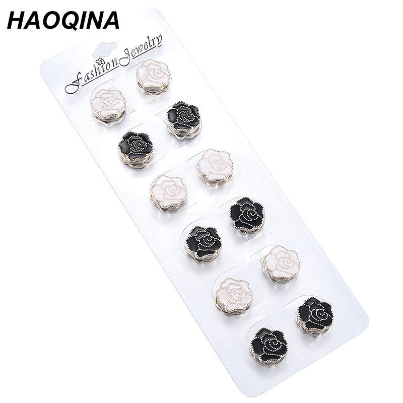 DCEE Muslim Magnet Brooch pin black and white enamel islamic women gift hijab scarf breast pin veil Safety Pins