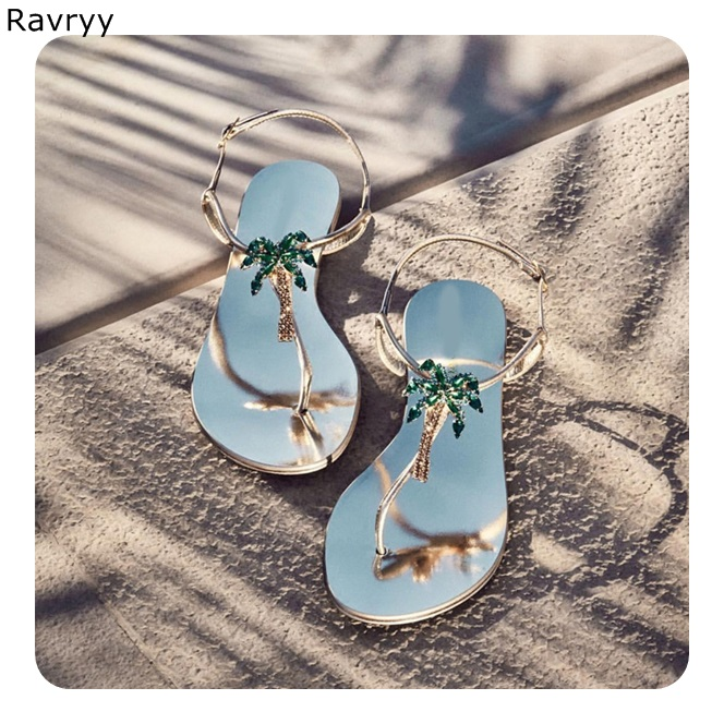 abc3175be0d033 Detail Feedback Questions about Bling bling green crystal coconut tree  decor Woman sandals 2018 summer flats flip flops Bohemia style female party  beach ...