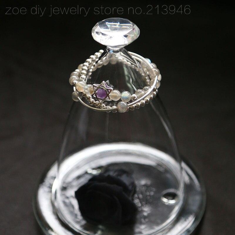 Original Design / Falling Star / 925 sterling silver natural 7mm semi-precious hexagram three layers bracelets semi sheer intarsia star sweater