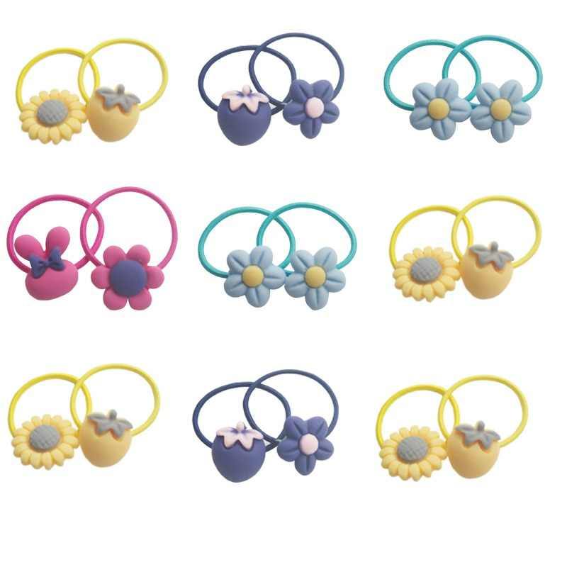 20PCS Cartoon Bow Knot Rabbit Ears Girls Hair Accessories Set Colored Gum Rubber Band Children Hair Ropes Baby Mini Headbands