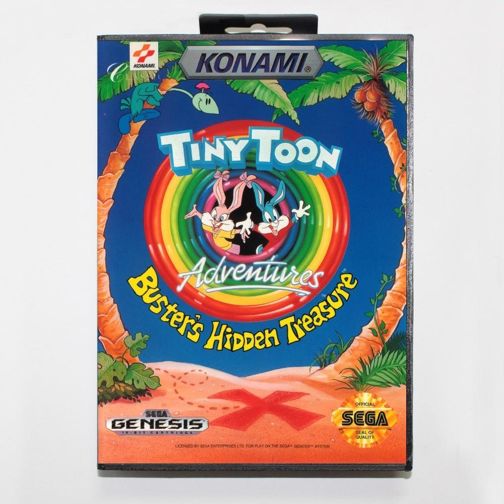 Tiny Toon busters tesoro escondido tarjeta MD de 16 bits con la caja Al Por Meno