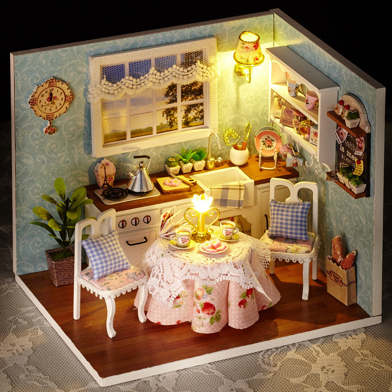 Kids Christmas/Birthday Gift DIY Wooden Doll House Toys Dollhouse Miniature Box Kit Handcraft Dollhouse Kitchen Model diy wooden handcraft miniature provence dollhouse voice activated led light