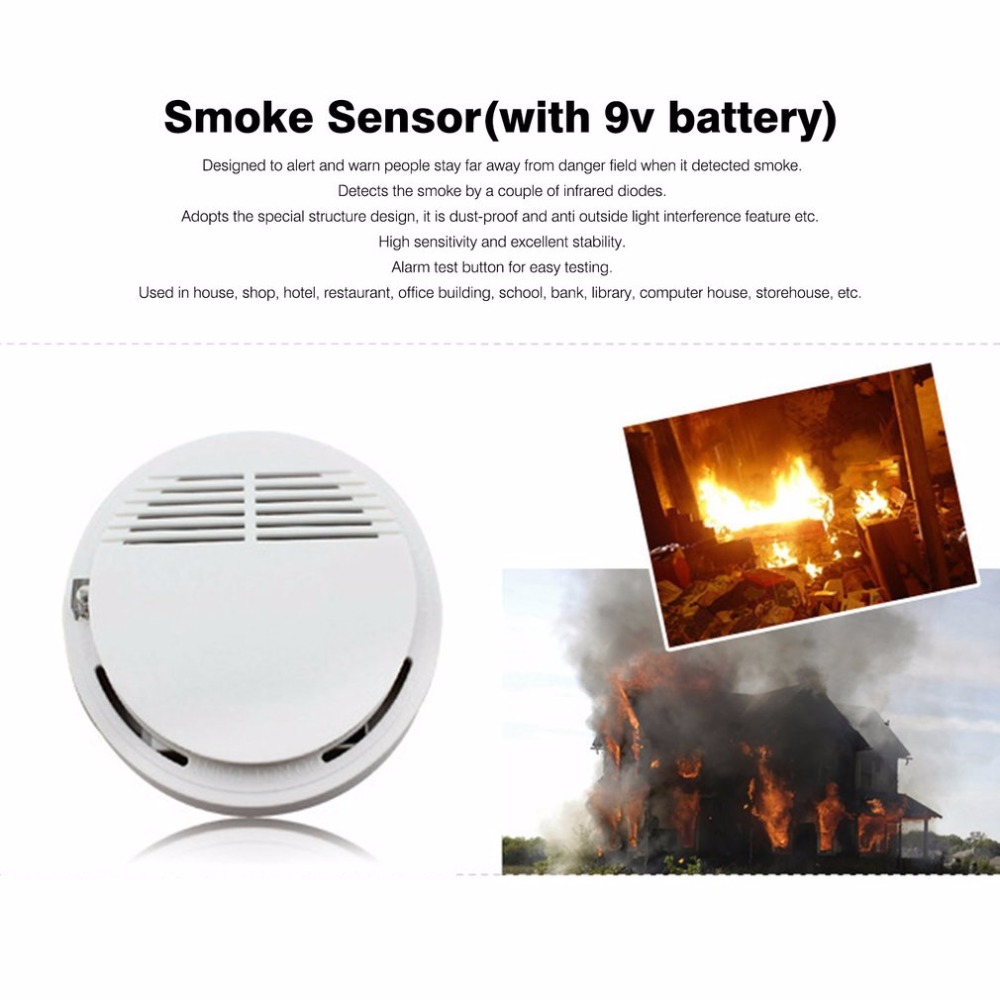 Photoelectric Smoking Detector Alarm More than 85dB Alarm Independent Fire Smoke Sensor For Home Security With 9V Batteries
