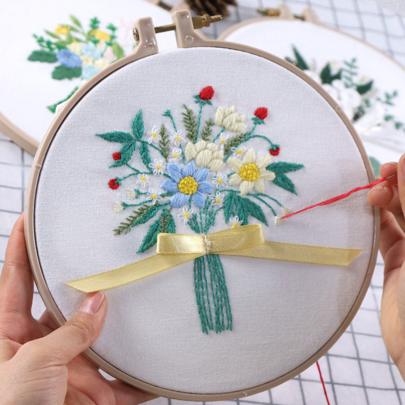 Embroidery Kits with Wooden Hoop Handwork Needlework Cross Stitch Set Flower Patterns Sewing Craft Home Decor