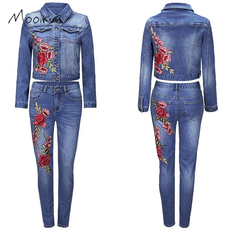 Mooirue Autumn Denim <font><b>Jeans</b></font> Women 2 Piece Set Crop Jacket With Flower Emberoidery And Pnecil <font><b>Jeans</b></font> Women Set For Winter