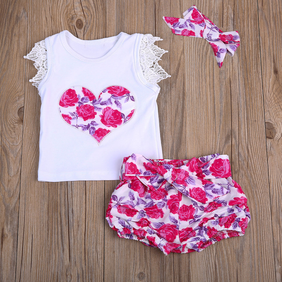 Clothing Sets Newborn Kids Baby Girls Long Sleeve Lace Tops T-shirt+print Shorts Bottoms Headband 3pcs Outfits Clothes Set Children Clothing Girls' Baby Clothing