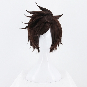 Image 2 - Game OW Overwatch Tracer Short Brown Cosplay Wig Synthetic Halloween Costume Party Stage Play Brown Hair Wigs