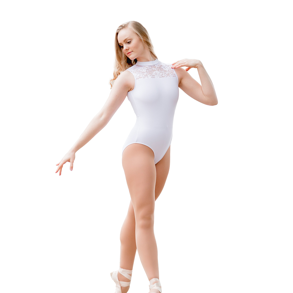 Dancer's Choices Ladies Cotton/Lycra Gymnastics Leotard with Lace Front and Open Back Girls Ballet Dancewear Practice Bodysuit