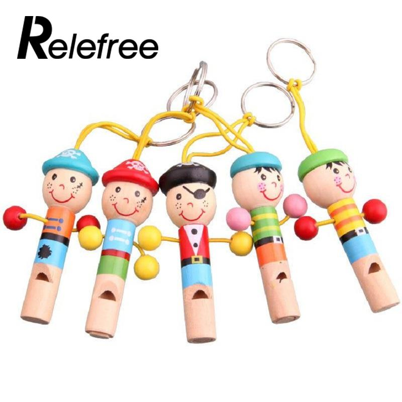 Relefree New Cartoon Cute For Baby Wooden Whistle Pirates Developmental Toy Musical Bag Decoration Funny Toys Gift