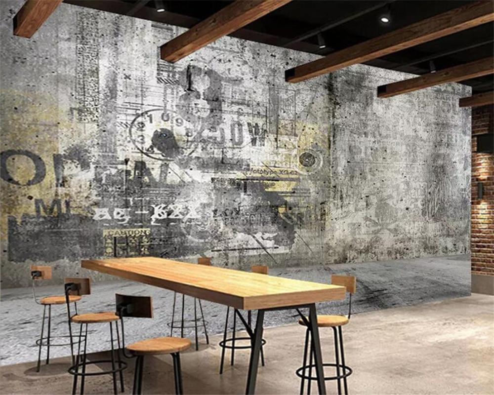 beibehang papier peint personnalise 3d retro vent industriel vintage lettres peinture de fond de mur tv