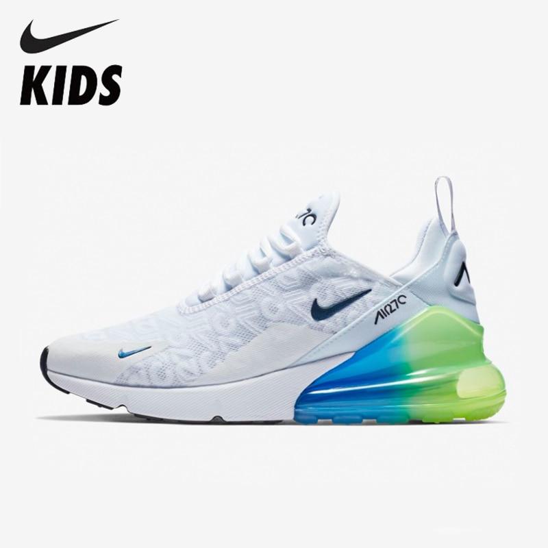 Nike Air Max 270 (gs) As Crianças Vão Oficial Crianças Correndo Sapatos Ao Ar Livre Confortáveis Tênis Esportivos # AQ9164