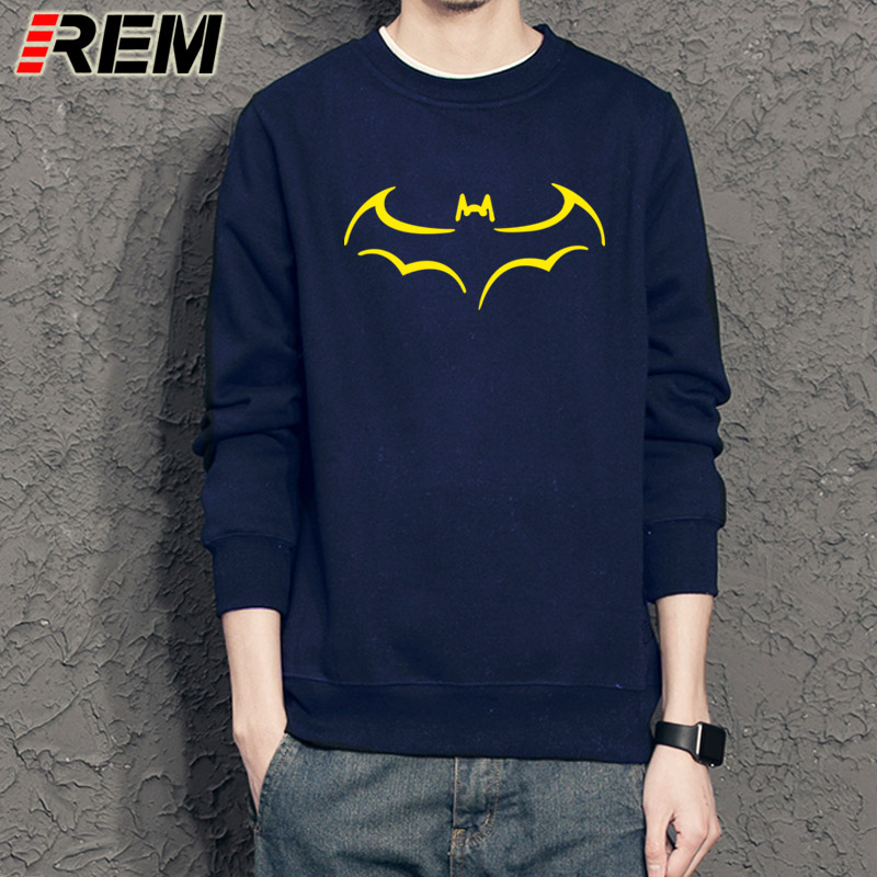 REM 100% COTTON men Sweatshirts casual Hoodies for men batman print men Hoodies crewneck mens Sweatshirts