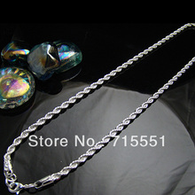 925 Silver Sterling Necklace ,4MM Twisted Singapore chain ,high quality,chain necklace for women / mens Free shipping