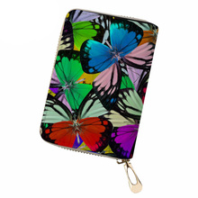 NOISYDESIGNS Women Business Card Holder Butterfly Print PU Leather Credit Ladies Driving License Cover Case for