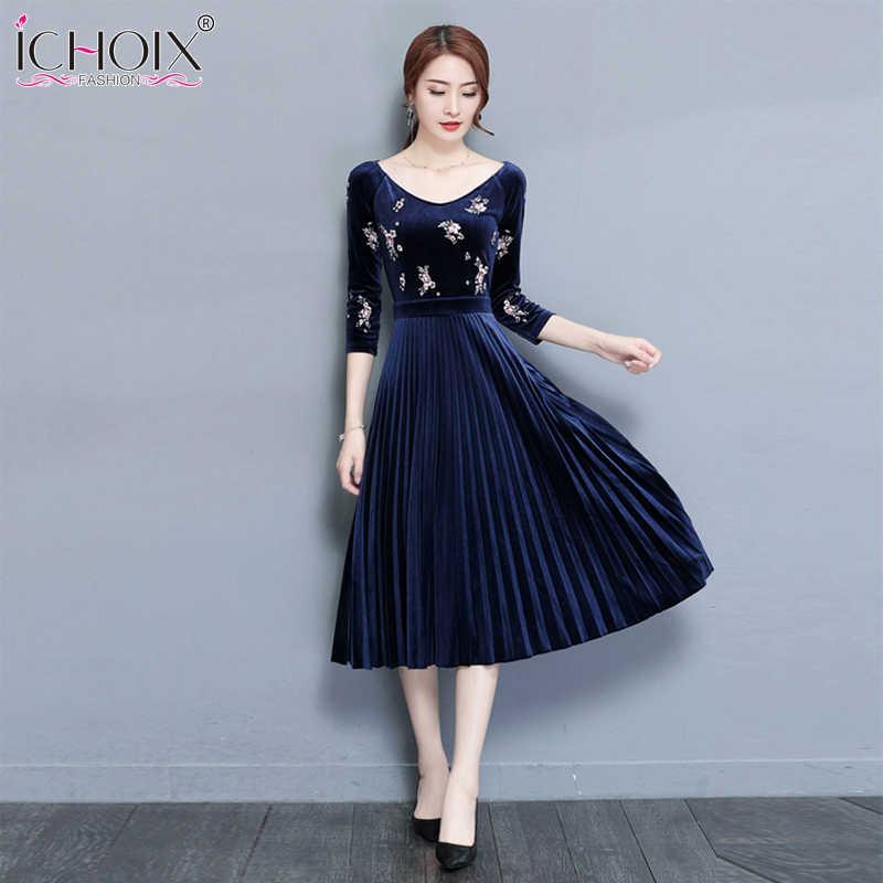 ICHOIX 2019 Elegant Print Velvet Women Dress New A-Line Mid Calf Dress  Autumn Vintage 4348a716c97a