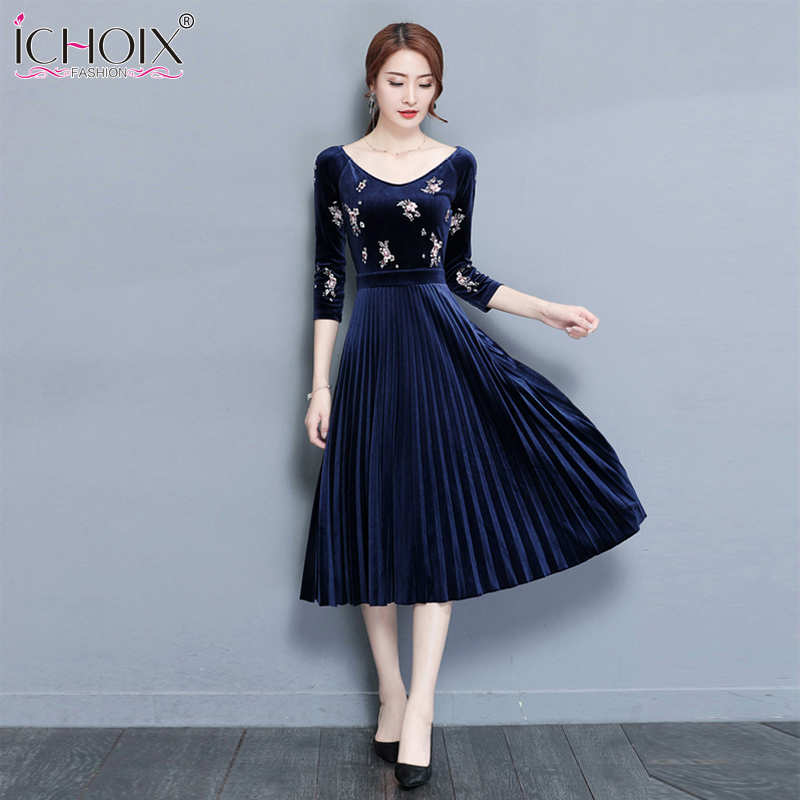 ICHOIX 2019 Elegant Print Velvet Women Dress New A-Line Mid Calf Dress Autumn Vintage Office Lady Embroidery V-Neck Vestidos
