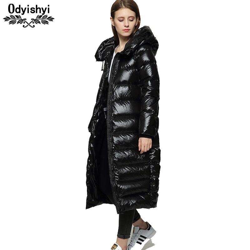 Kadın Giyim'ten Şişme Montlar'de Kış Uzun uzun kaban Ceketler Kadın 2019 Hipster Siyah Parlak Kalınlaşmak Gevşek Mont Beyaz Ördek Aşağı Ceket Hiver Sıcak Parka HS619'da  Grup 1