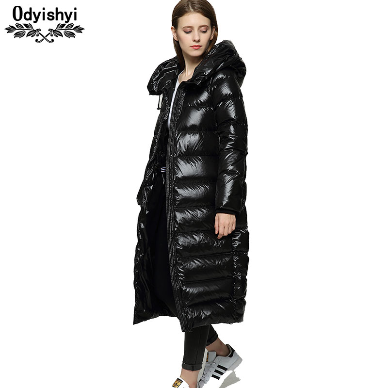 a30101cad US $70.95 69% OFF|Winter Long Down Coat Jackets Female 2019 Hipster Black  Shiny Thicken Loose Coats White Duck Down Jacket Hiver Warm Parka HS619-in  ...