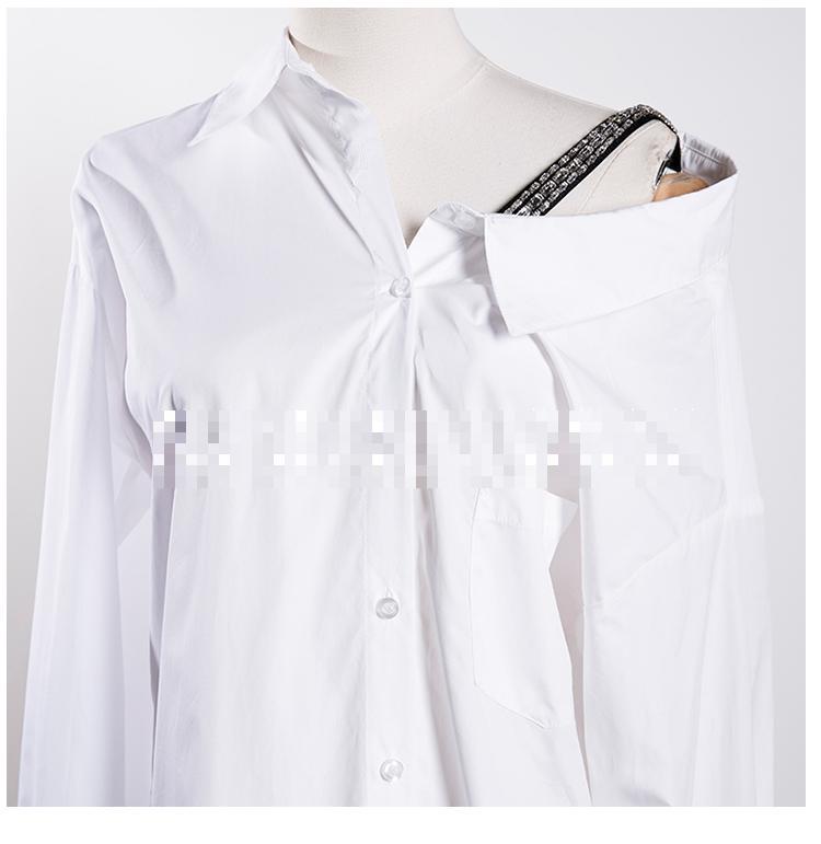 Larga Hombro White Suelto Primavera Agua Mujer De Nueva Tops Getsring Camisa Manga Blanco Camisas Blusas Taladro Irregular Las Mujeres gxqw7HY