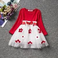 Модные темно-синие и белые милые детские для маленьких девочек дети с длинными рукавами одежда платье для малышки Рождественская красными ...