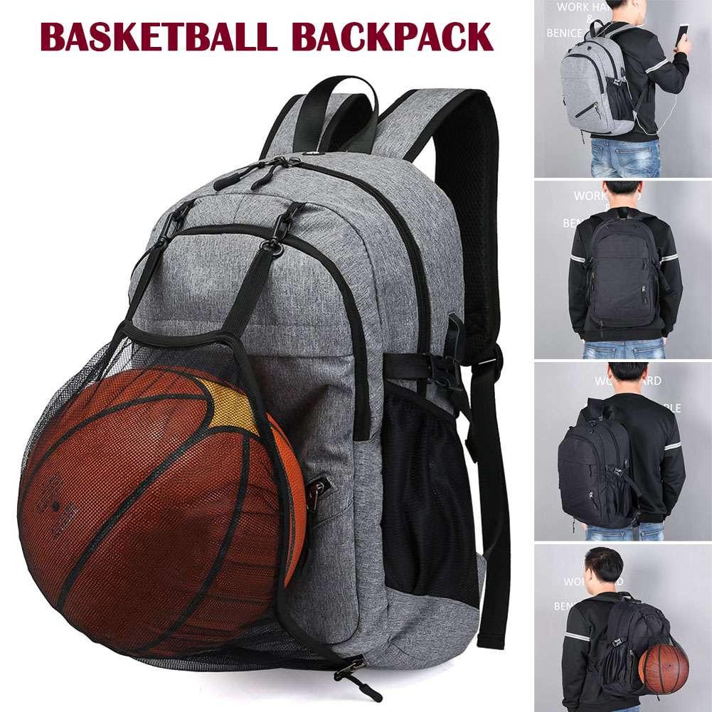 New Arrival Men Sport Basketball Backpack USB Charging Port Laptop Bag Waterproof for Students