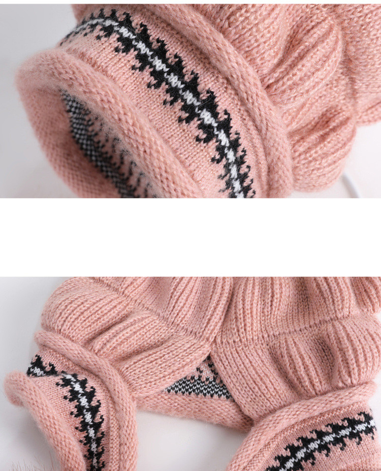 New Autumn And Winter Korean Version Of The Warm Women Hat Gloves Set Knitted Hair Ball Two Sets Of Ladies Thickening HC37 (15)