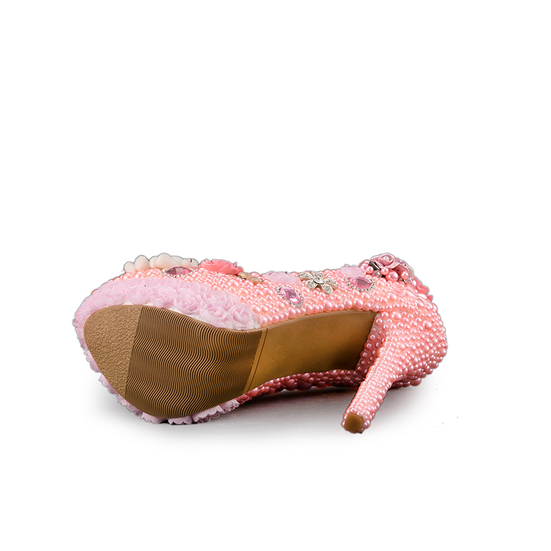 8cm Couleur Perle Pompes Pink Rose 14cm De Partie pink Plate À Conception Talons Heels Heels Dentelle Mariée Magnifique D'anniversaire 11cm Mariage Robe Chaussures forme Cristal Fleur Hauts SqPw7AA