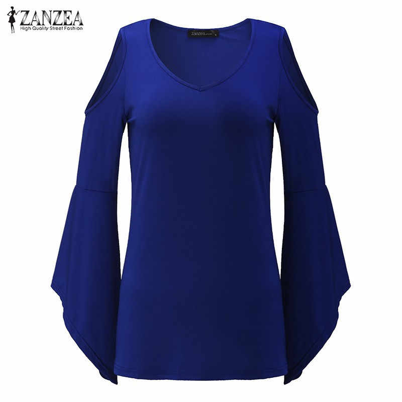Herfst Shirts 2019 ZANZEA Vrouwen Blouses Sexy Off Shoulder V-hals Flare Mouwen Casual Solid Slim Blusas Plus Size Tops