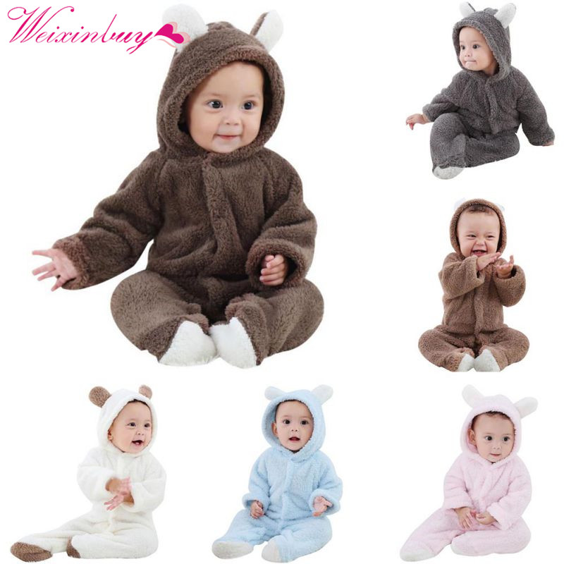 Baby Rompers Newborn Baby Girl Clothes Set Cute 3D Bear Ear Jumpsuit Baby Boy Clothes Set Autumn Winter Warm Baby Clothing Set 2018 kids cosplay jumpsuit product baby clothing baby girl rompers baby boy newborn hoodie clothes with sock