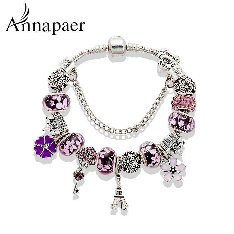 2016 New Fashion Mix Style Charm Bracelet for Women Antique Silver ...
