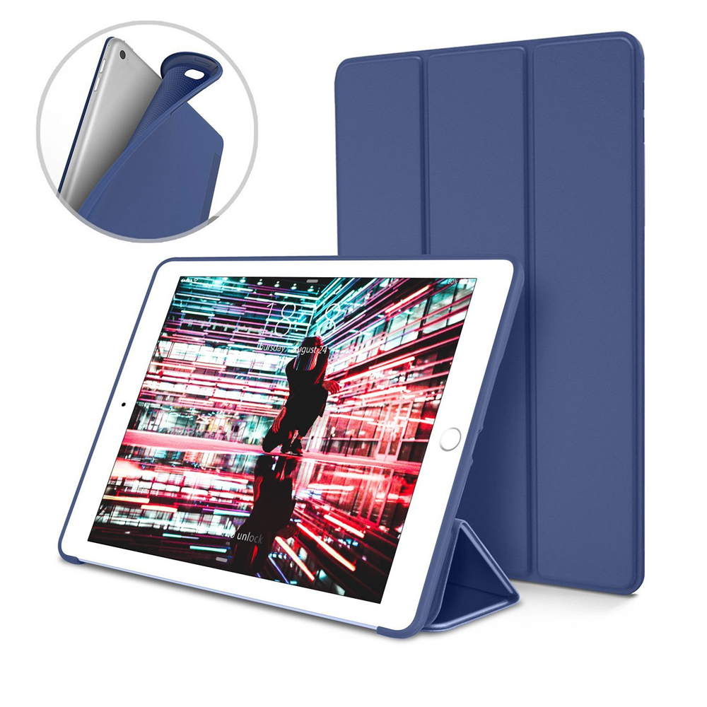 цена на For Apple iPad Mini 4 Smart Case Ultra Slim Flexible PU Leather Silicone Back Trifold Soft Cover With Stand Holder Tablet Case