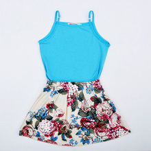 summer style baby girls clothing set new 2017 fashion blue suspenders t shirt tops+flower skirts high quality girl clothing sets