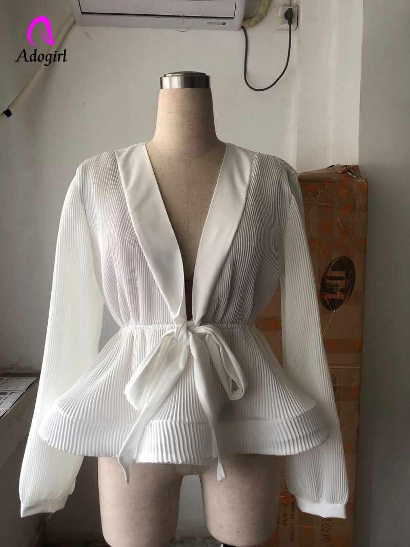 Женская блузка 2019, летняя Новинка, однотонная женская шифоновая блузка для офиса, для девушек, v-образный вырез, галстук-бабочка, свободная, повседневная, однотонная, женские рубашки, верхняя одежда, топы