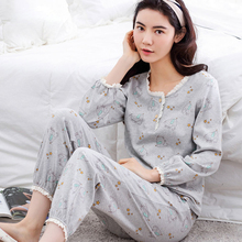 Spring Women's Sleepwear Long-sleeve 100% Cotton Autumn And Winter Casual Pullover Lounge Female At home Pyjamas Set