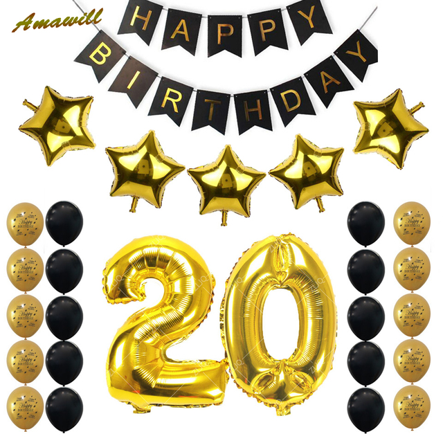 Amawill 20th Birthday Party Decoration Kit 32inch Gold Number Balloon Happy Latex 20 Years Old Decor 6D