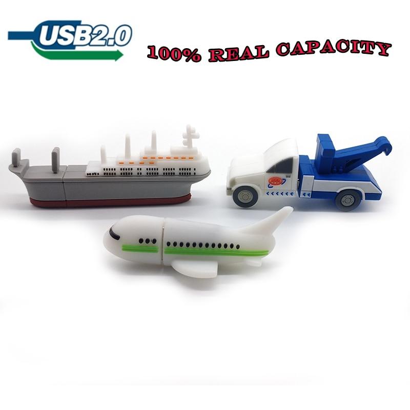 Cartoon Crane Car/plane/ship Usb Flash Drive 64gb 32gb 16gb 8gb 4gb Memory Stick Full Capacity Pen Drive Creative Gift Pendrive