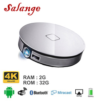 Salange D8S Mini Projector Led Portable 2G+16G 1280*720 Resolution Built In Android 6.0 3D Dual WIFI 12000mAh Battery Beamer