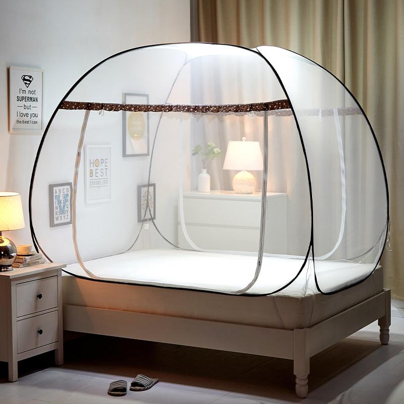 Portable Folding Mosquito Net Mongolian Yurt Insert Mesh Adult Bed Canopy Kids Moustiquaire Blue Foldable Tent Bed klamboe Nets