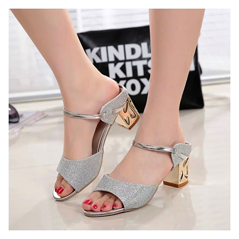 Women Sandals Ankle-Wrap High Heels Sandals Woman Summer Casual Square Heel Ladies Sandals Gold Sliver fashion summer apricot sandals charming multi buckles design woman high heels ankle buckles cover heel back zipper free ship
