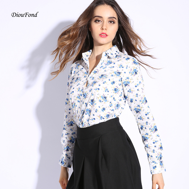 20dc13838 Dioufond Long Sleeve Women Tops Vintage Floral Printed Cotton Shirt  Turn-down Collar Ladies Blouses Women Fashion 2017 Plus Size