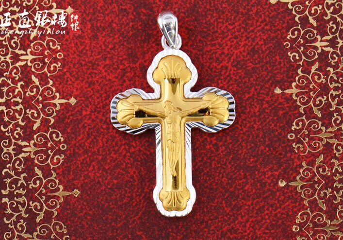 999 fine silver inlaid with Gold Cross Pendant Silver Gold Pendant male female couples ditech rf100150gs gold silver прямоугольный отражатель