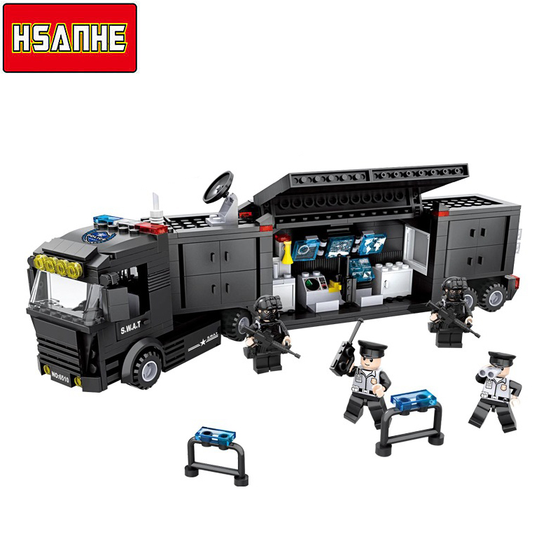 HSANHE Building Block Brick SWAT Command Vehicle Car 3D DIY Model Compatible With Legoe City Boy Toy Christmas Gifts Toy For Kid dinosaur transformation plastic robot car action figure fighting vehicle with sound and led light toy model gifts for boy