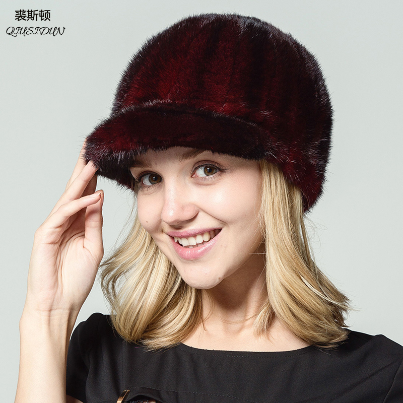 Real mink Hat Women natural ermine 2017 new high-quality Female Lady Winter Hat Cap peaked cap russian fur hats for women hat female summer sun cap folding speed dry outdoor sunshade cap female peaked cap covered his face riding hat
