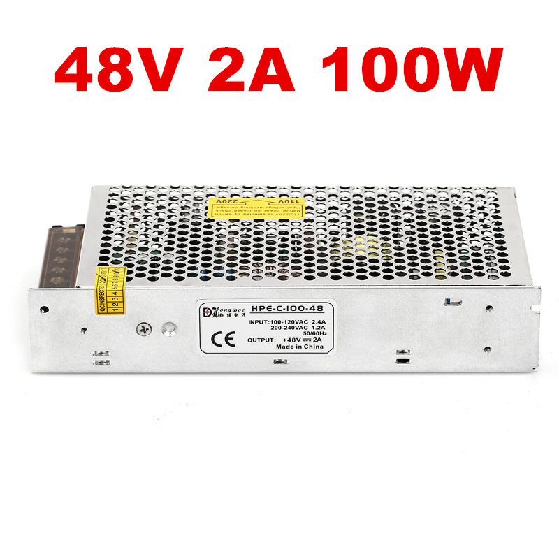 10PCS 100W 48V 2A Switching power supply 48Vpower suply 48V2000mA AC-DC 100-240V S-100-48 1pcs 100w 48v 2a switching power supply input 100 240vac for led strip light ac to dc power suply 100w power supply s 100 48