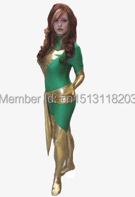 Jean Grey Phoenix Costume lycra full body zentai suit green Phoenix superhero costume free shipping wholesale