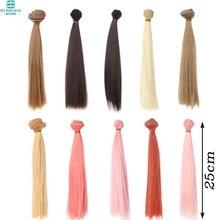 25 * 100 CM Muñeca pelucas / pelo Pelo recto Para 1/3 1/4 1/6 BJD / SD DIY modelado Rosa dorado negro-marrón Envío gratis