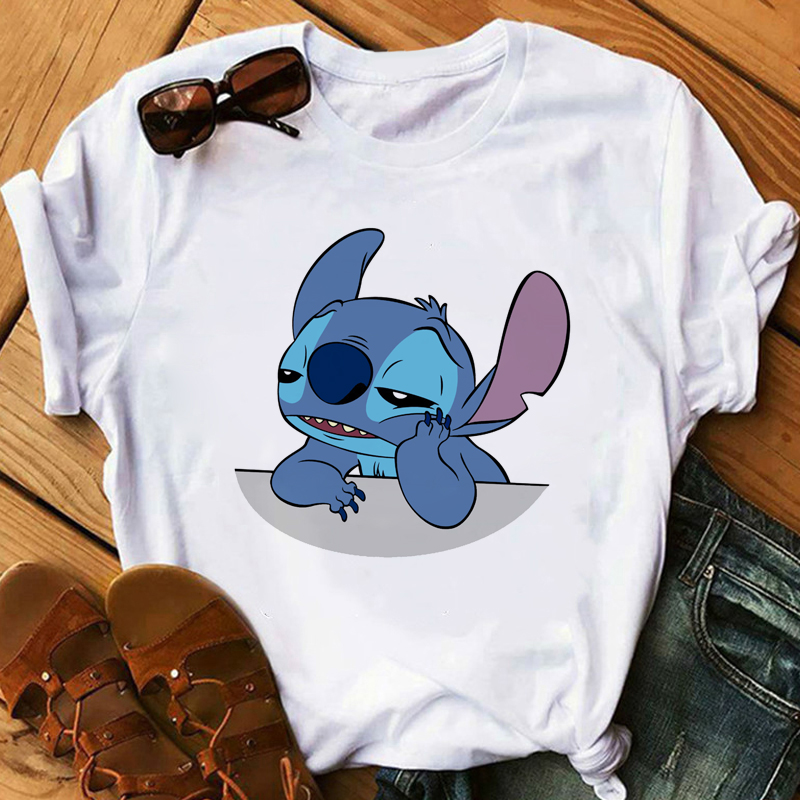 Women's T-Shirt LILO STITCH Summer White Harajuku Kawaii Tshirts Lovely Cartoon Casual T Shirt Cute Slim Casual Tops For Girls