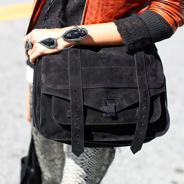 Satchel messenger bag vintage suede designer handbags high quality briefcase postman bag lady big retro crossbody bags for women