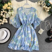 Summer Dress 2019 Korean Fairy French Cool Girl Print V-neck Flare Sleeves Chiffon Plus Size Women Casual summer